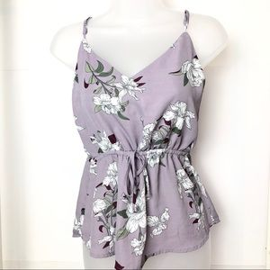 Lilac Cinched Waist Floral Tank Top size S